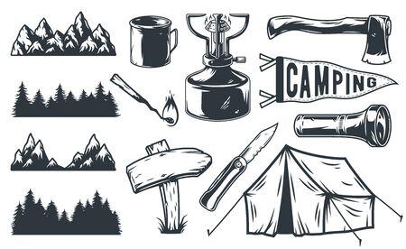 Set of camping equipment tent flashlight mountain forest axe knife Иллюстрация