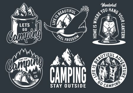 Set of monochrome camping and travel emblems, including campfire, flag, wood, lantern, forest
