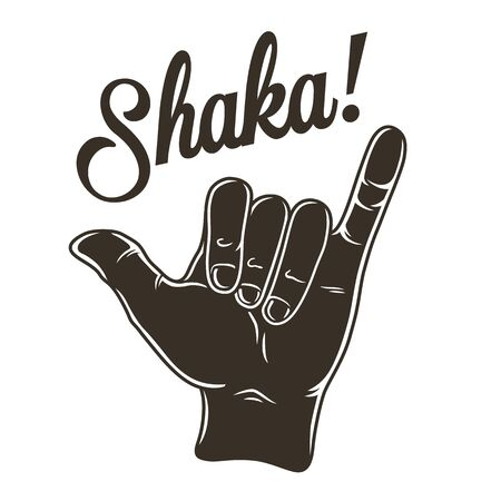 Hand that shows surfer hawaii surfing gesture shaka Vecteurs