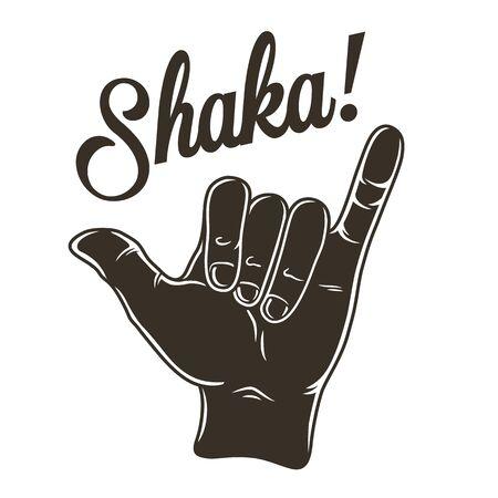 Hand that shows surfer hawaii surfing gesture shaka