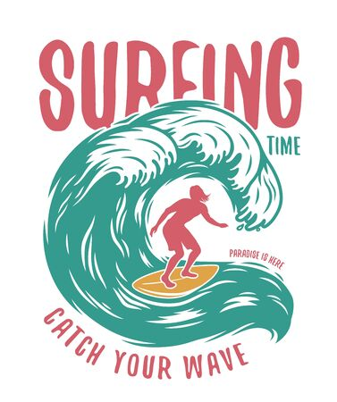 Silhouette of a man on a wave with surfing board