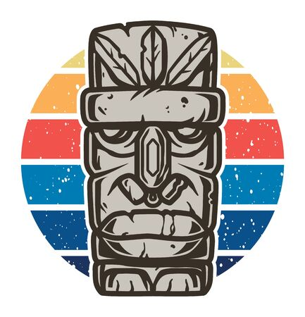 Color design tiki mask for summer beach surfing season