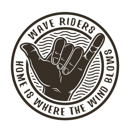 Hand that shows surfer hawaii gesture shaka