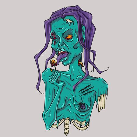 Colorful zombie with spider and eye for Halloween Standard-Bild - 143846791