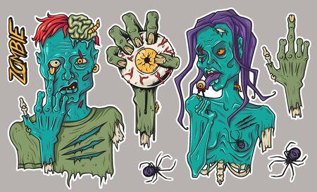 Zombie sticker pack for Halloween hand spider