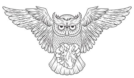 Wild animal owl with heart and open wings