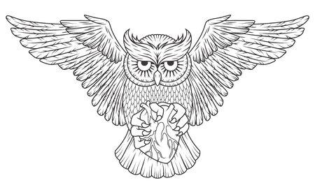Hibou animal sauvage avec coeur et ailes ouvertes