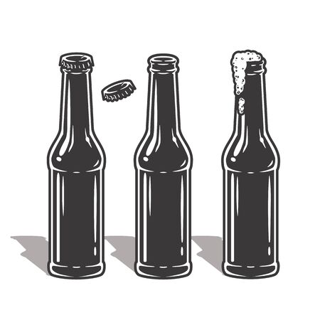 Set of beer bottles with foam and cap Vetores