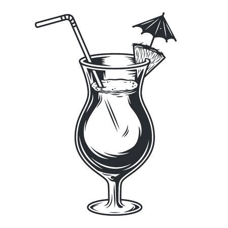 Cocktail glass pina colada with umbrella straw Vektorové ilustrace