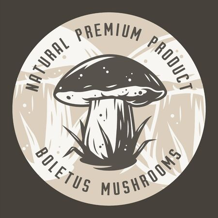 Autumn forest boletus mushroom picking vegan menu Ilustrace