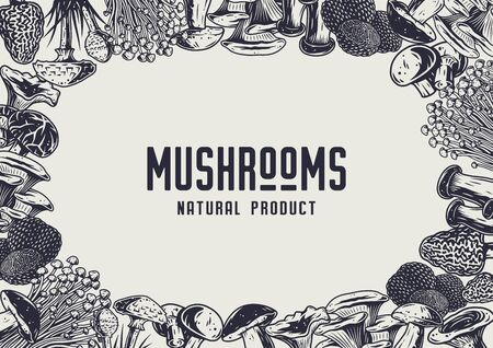 Autumn forest mushroom picking, vegan menu frame