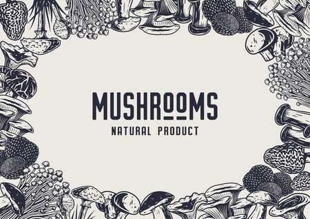 Autumn forest mushroom picking, vegan menu frame