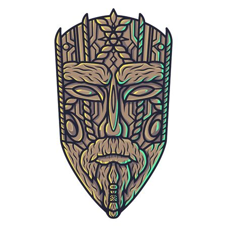 Carving ethnic wooden mask of face, totem