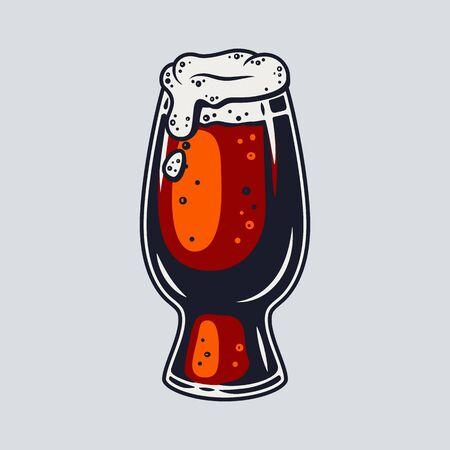 Colored beer mug with foam retro bar and pub menu. Tipes of glasses for bavarian october festival Vector Illustratie