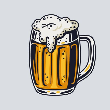 Colored beer mug with foam retro bar and pub menu. Tipes of glasses for bavarian october festival
