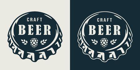 Emblem with metal cork from a beer bottle Иллюстрация