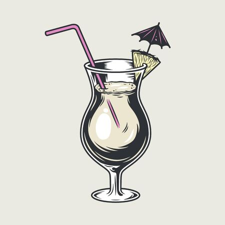 Cocktail glass pina colada with umbrella straw