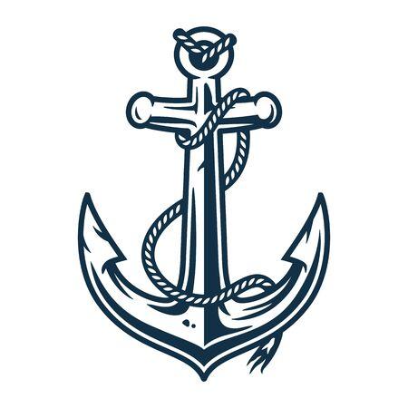 Élément rétro marin avec ancre et corde