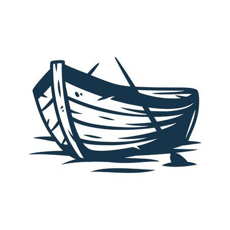 Barco de madera sobre las olas o en la orilla con la ilustración de vector de remos aislado sobre fondo blanco Ilustración de vector