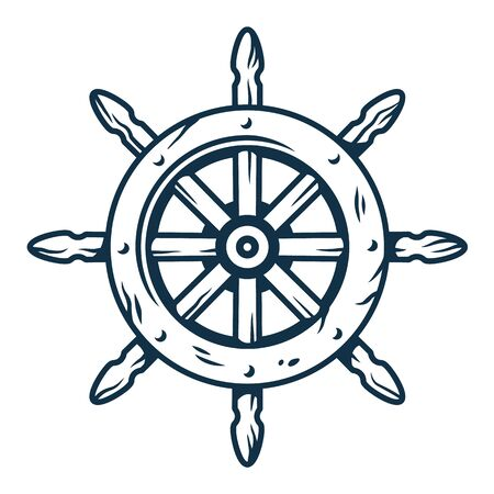 Symbol of sail. Nautical helm. Marine cruises Vettoriali