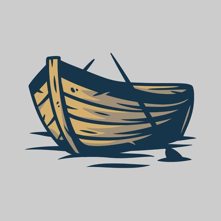 Wooden boat on waves or and paddle