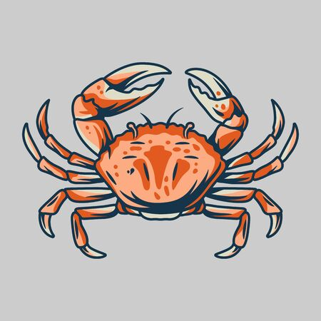 Silhouette of marine oceanic crab with claws Stock Illustratie