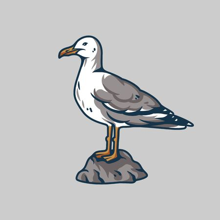 Seagull sits on a stone for nautical marine
