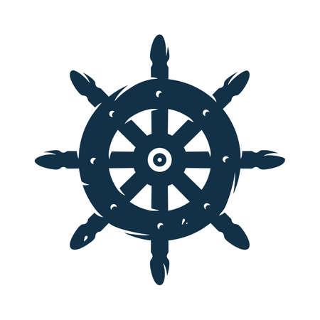 Silhouette of sail. Nautical helm. Marine cruises