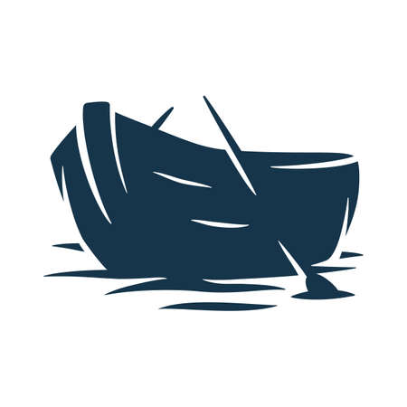 Silhouette wooden boat on waves or and paddle Vecteurs