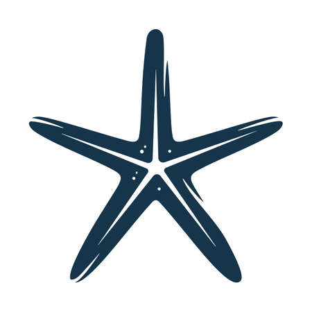 Graphic silhouette, shape of underwater tropical exotic starfish for design.