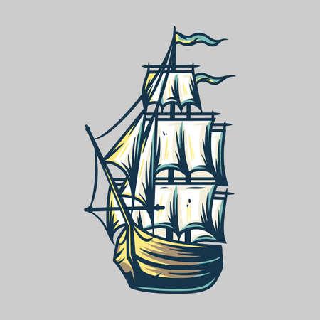 Ship vacation sea travel transport. Vector marine nautical illustration for design