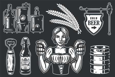 Bar tools girl, spikelet, keg, bottle, factory