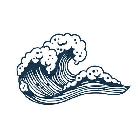 Sea wave with foam for marine nautical design