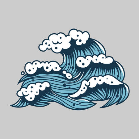 Sea wave with foam for marine nautical design