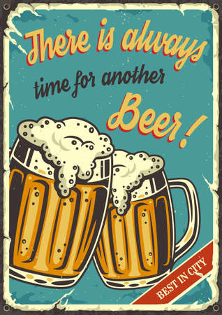 Retro poster with beer mug with foam