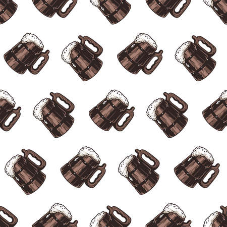 Seamless pattern with craft beer mug and foam