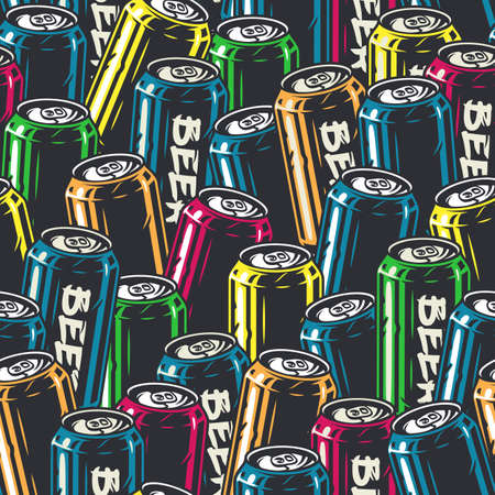 Seamless pattern with metal can for beer design