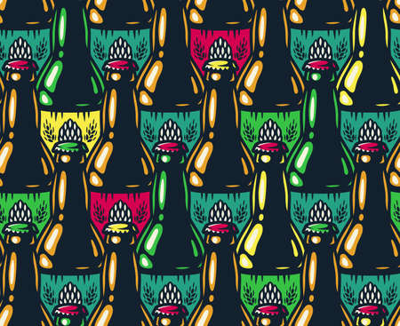 Colored seamless pattern of beer bottle with cap