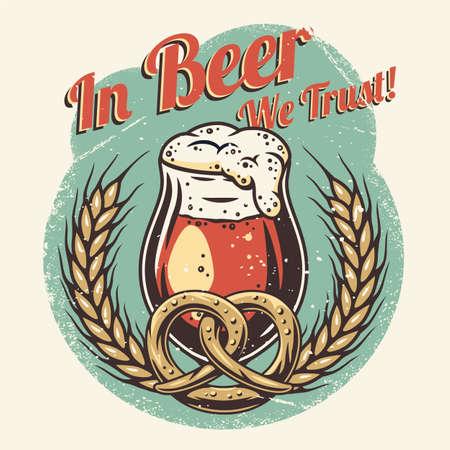 T-shirt colored print with beer mug pretzel barley