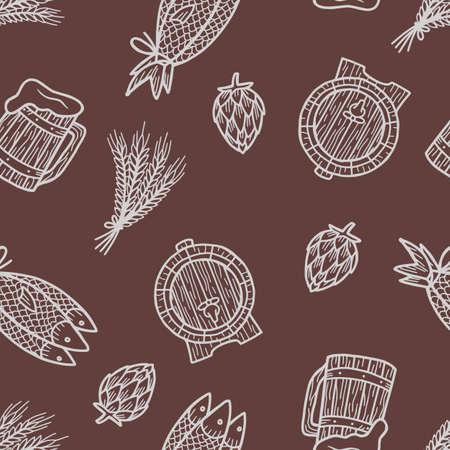 Pattern with beer mug, hop, barrel, barley
