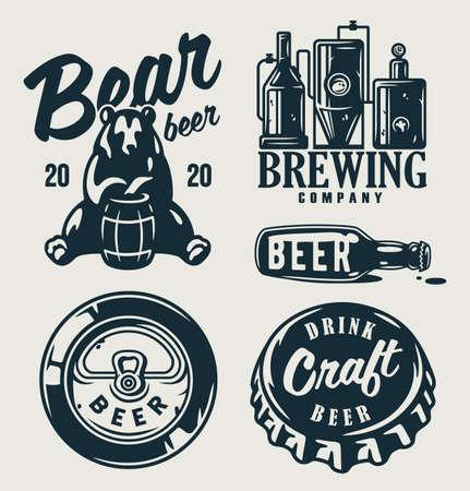 Set of emblems with beer barrel, hop and mug