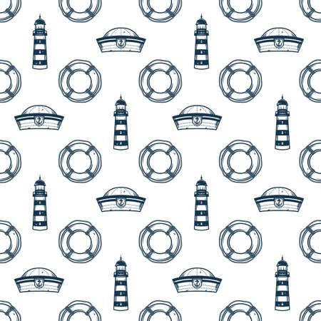 Pattern of marine nautical lifebuoy and lighthouse Vettoriali