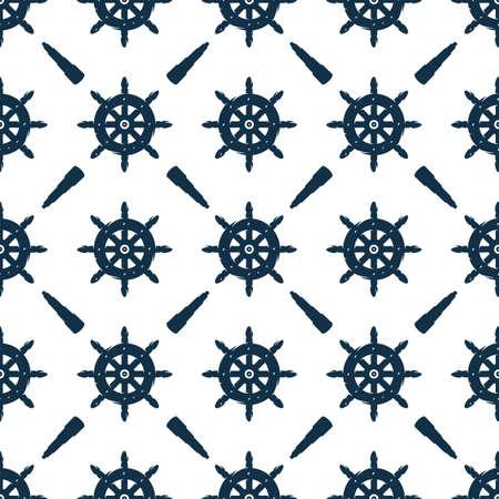 Seamless pattern of marine nautical captain helm Vettoriali