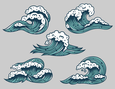 Colored set of sea or ocean wave for marine design Иллюстрация