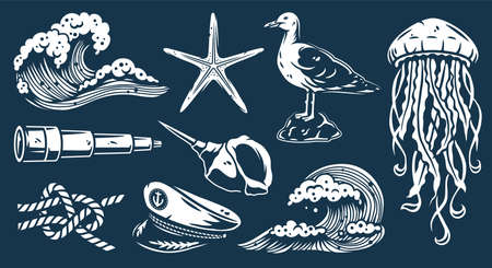 Set of nautical elements for marine design