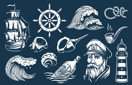 Set of nautical elements for marine design Иллюстрация