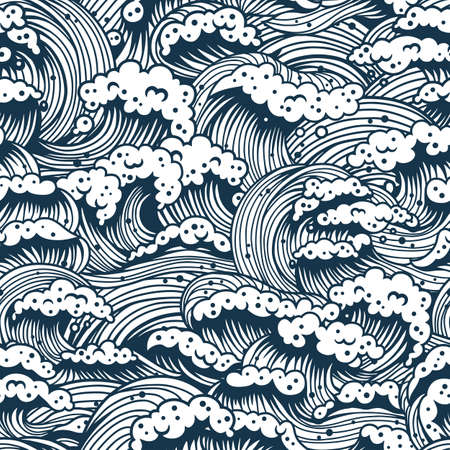 Pattern with sea or ocean wave for marine design Иллюстрация