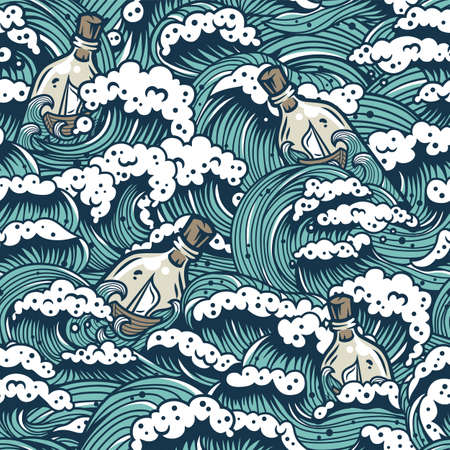 Pattern wich sea wave and boat for marine design