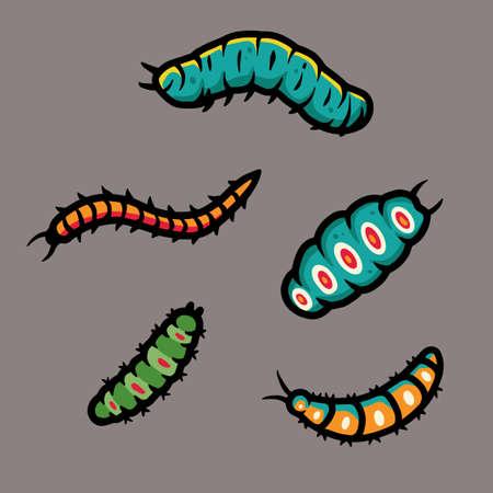 Set of scary caterpillar for halloween design Ilustración de vector
