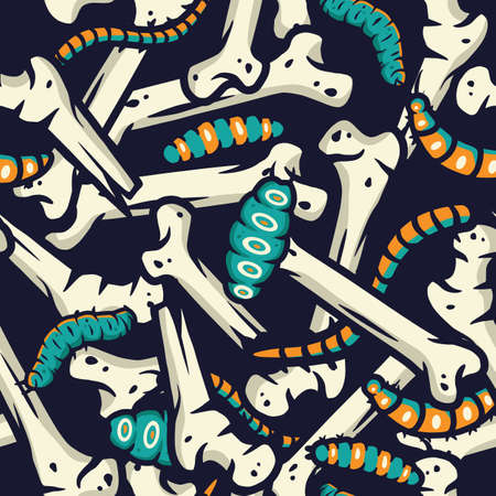 Pattern with caterpillar bones for halloween party 向量圖像